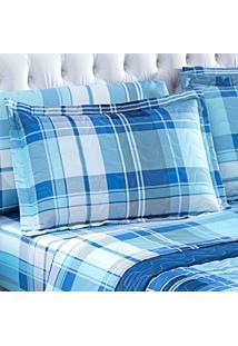Porta Travesseiro Matelasse Micropercal Xadrez Blue