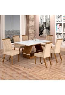 Conjunto De Mesa De Jantar Ii Com 6 Cadeira Esmeraldas Veludo Branco E Palha