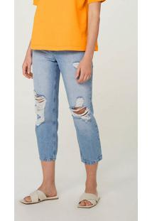 Calça Jeans Feminina Mom Cintura Super Alta Destroyed