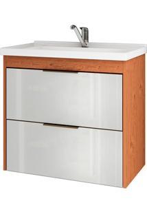 Gabinete Suspenso Para Banheiro Lavanda 56X59Cm Amêndoa E Branco