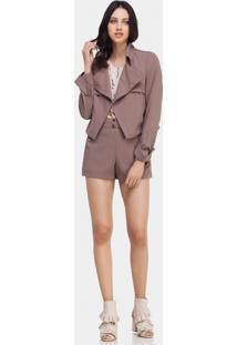 Jaqueta Estruturada Em Tecido Marrom Cogumelo - Lez A Lez