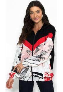 Jaqueta Estampada Com Capuz Preta