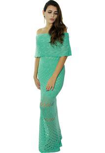 Vestido Longo Vitória Lótus Tricot Modelo Cigana Com Pala Verde
