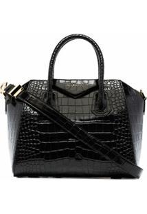 Givenchy Bolsa Tote Pequena De Couro Com Efeito De Crocodilo - Preto