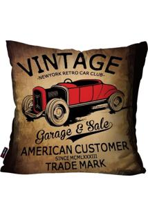 Capa De Almofada Pump Up Decorativa Avulsa Marrom Vintage Garage 45X45Cm