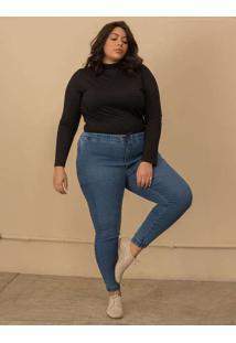 Calça Jeans Jogger Plus Size Azul Claro-48 Azul