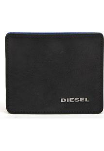 Carteira Couro Diesel Fresh Starter Preta/Azul