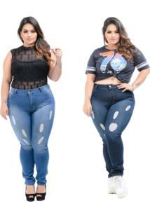 Kit 2 Calças Destmoda Jeans Plus Size Destroyed Azul