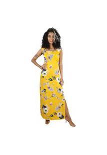 Vestido Mercatto Longo Floral Amarelo