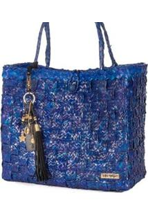 Bolsa Ana Viegas Tote-Shopper Palha Berloques Metais Passeio Feminina - Feminino-Azul