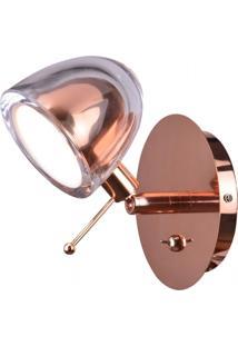 Arandela Em Vidro E Metal Cobre 11X10Cm