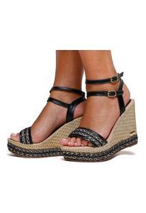 Sandália Anabela Plataforma Sb Shoes Ref.3280 Preto