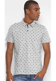 Camisa Polo Forum Mini Print Gravataria Masculina - Masculino-Mescla