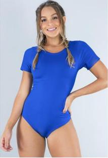 Body Cavado Manga Curta Estampado Blusa Collant Feminino - Feminino-Azul