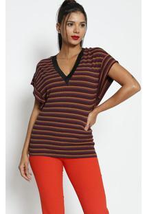 Blusa Listrada Com Tag - Rosa Escuro & Amarelo Escuro