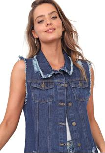 Colete Jeans Mercatto Destroyed Azul