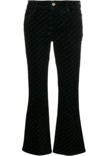 Stella Mccartney Calça Jeans Flare Monogramada - Preto