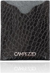 Carteira Slim Campezzo De Couro Preto Croco