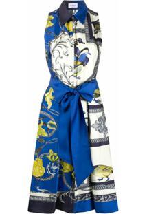 Salvatore Ferragamo Vestido Elisabeth Com Estampa - Azul