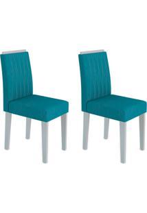 Conjunto Com 2 Cadeiras Ana Ii Off White E Turquesa