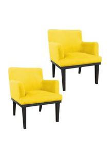 Kit 02 Poltronas Decorativa Vitória Sala E Recepçáo Suede Amarelo - Ds Móveis
