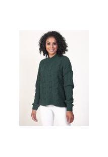 Blusa Feminina Frente Com Tranças Malhas G'Dom Verde Escuro