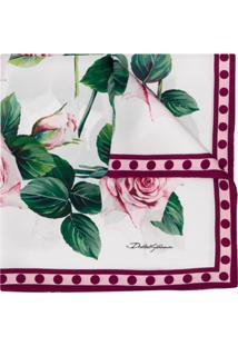Dolce & Gabbana Lenço Com Estampa De Rosa - Branco