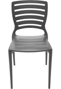 Cadeira Plástica Monobloco Sofia Preta Encosto Vazado Horizontal Tramontina 92237/009