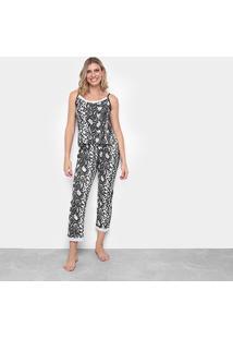 Pijama Flora Zuu Animal Print Cobra Feminino - Feminino-Preto+Branco
