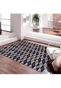 Tapete 100% Marca Própria Mosaico Argyle Antiderrapante 140X200 Casa Dona Cinza