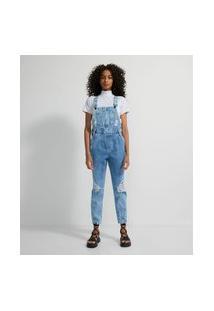 Macacão Jardineira Jeans Com Puídos E Bolso Frontal