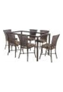 Jogo De Jantar 6 Cadeiras Turquia Pedra Ferro A36 E 1 Mesa Retangular Sem Tampo Ideal Para Área Externa Coberta