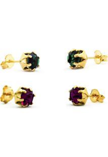 Conjunto 2 Brincos Horus Import Ponto De Luz Banhado Ouro Amarelo 18K - Kit10556 - Dourado