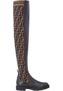 Fendi Bota Over The Knee Com Estampa 'Ff' - Preto