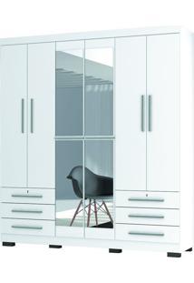 Guarda-Roupa Casal Londres Branco 6 Portas 6 Gavetas E Espelho - Incorplac
