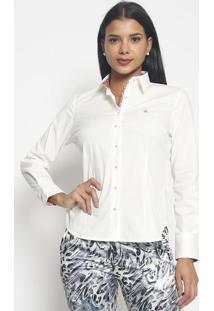 Camisa Com Bordado- Branca & Pink- Vip Reservavip Reserva