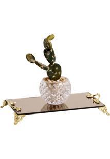 Bandeja Espelhada Bronze 12X22Cm Com Alã§As Douradas Cr Vidros - Dourado - Dafiti