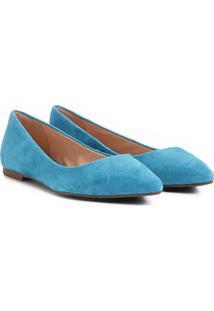 Sapatilha Couro Shoestock Bico Fino Feminina - Feminino-Azul Turquesa