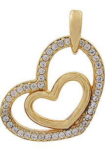 Pingente Narcizza Semijoias Coração Vazado Com Detalhes Cristal Ouro