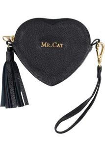 Porta Níquel Coração Mr. Cat Feminino - Feminino-Preto