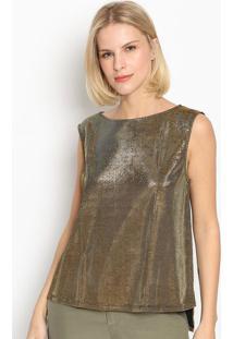 Blusa Texturizada Com Fendas - Dourada - Lanã§A Perfulanã§A Perfume
