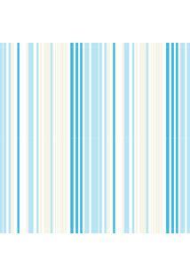 Papel De Parede Quartinhos Adesivo Texturizado Listrado Azul E Marfim 2,70X0,57M