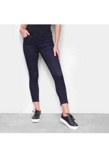 Calça Jeans Calvin Klein Super Skinny Cropped Feminina - Feminino-Marinho