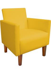 Poltrona Decorativa Compacta Jade Corino Amarelo Com Pés Castanho - D'Rossi