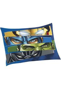 Fronha Avulsa Avengers®- Azul Escuro & Verde- 70X50Clepper