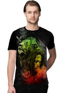Camiseta Stompy Reggae Color Masculina - Masculino-Preto