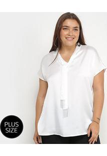 Blusa Lemise Plus Size Amarração Manga Curta Feminina - Feminino-Branco