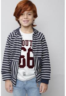 Blusão Infantil Em Moletom Listrado Com Capuz E Bolso Azul Marinho