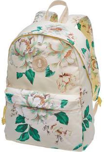 Mochila Xodo Floral Dora- Off White & Verde- 42X29X1Farm