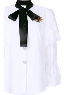 Dolce & Gabbana Blusa Com Detalhe De Renda E Laço - Branco